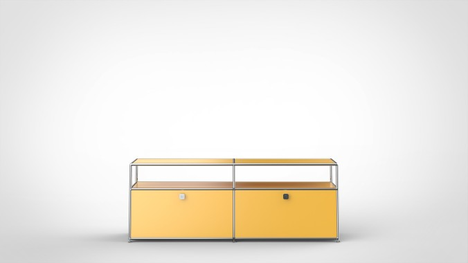 SYSTEM 01 Sideboard with Drop-down doors, RAL 1004 Golden yellow
