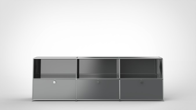 SYSTEM 01 Office Shelf with Drop-down doors, RAL 7016 Anthracite gray