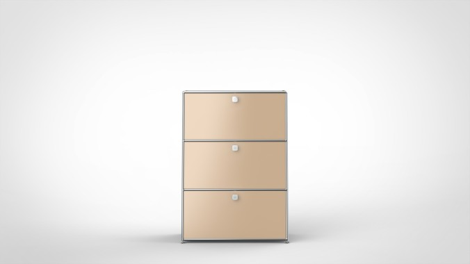 SYSTEM 01 Highboard with Drop-down doors, RAL 1019 Beige
